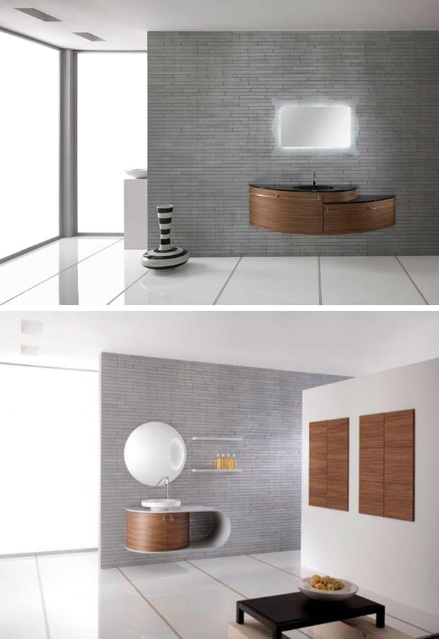 Holzmöbel und Wanddekoration auf Natursteinwand fürs Bad