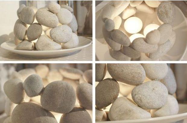 selbstgemachter Teelichthalter aus weißen Steinen