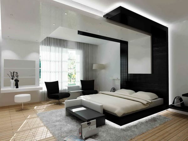 Schlafzimmer mit Holzboden und Doppelbett in schwarz-Wand- und Deckebeleuchtunh