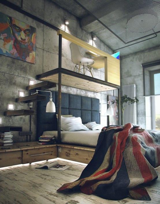 Loft Design mit schwebendem Arbeitzbereich über das Bett