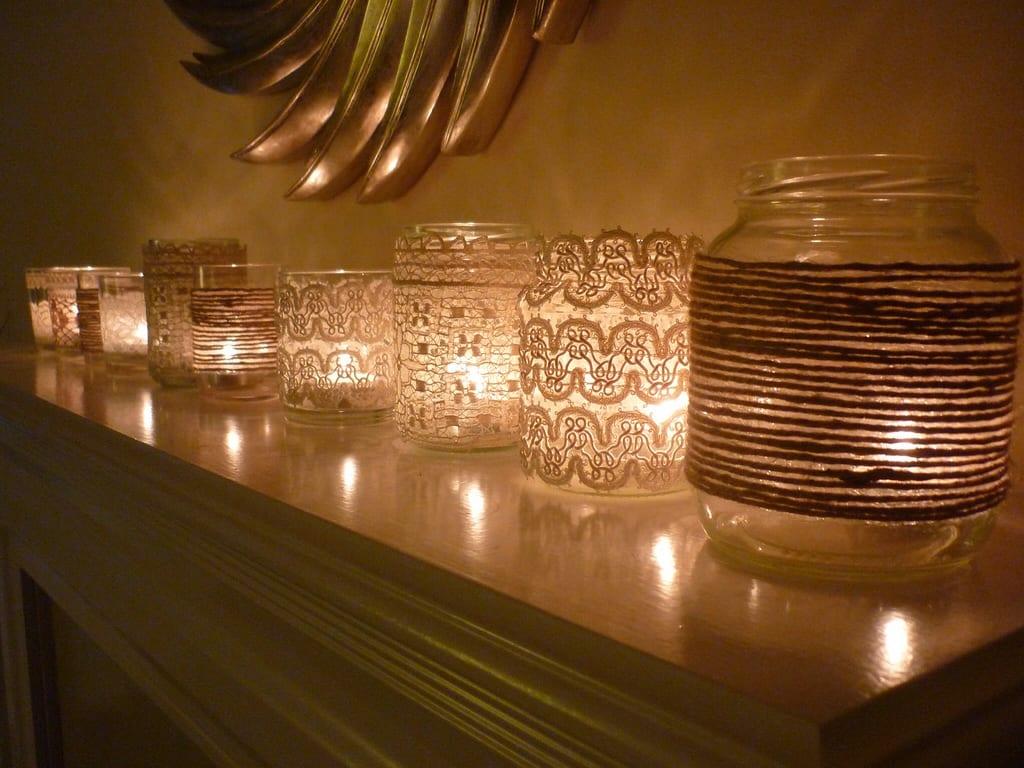 selbstgemachte Dekoration von Teelichthalter