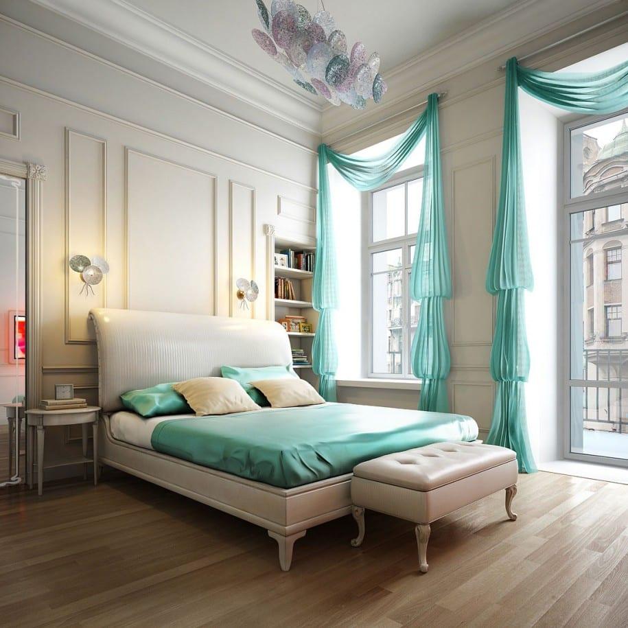 weiße Doppelbett aus Leder mit türkisen Gardinen und Bettdecke