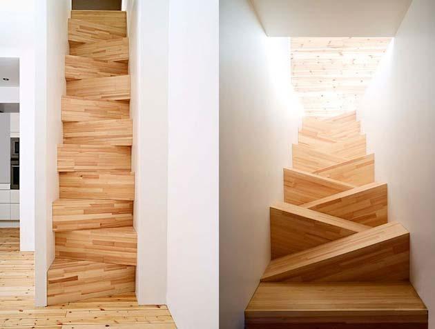 moderne Treppe mit versetzten Massiv-Treppenstufen aus Holz
