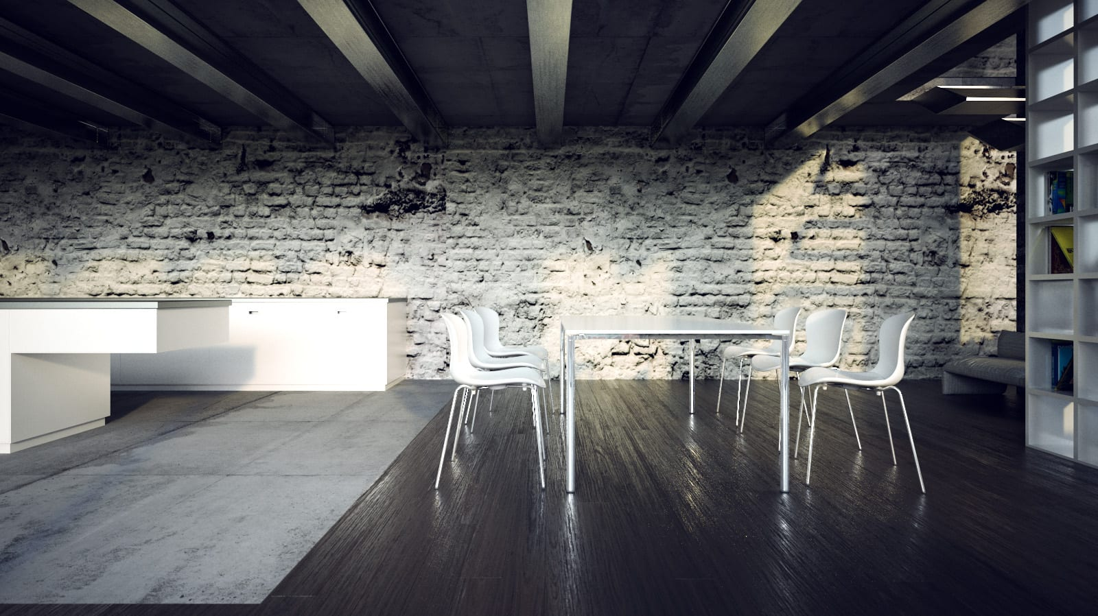 Essbereich mit Holzboden im Loft