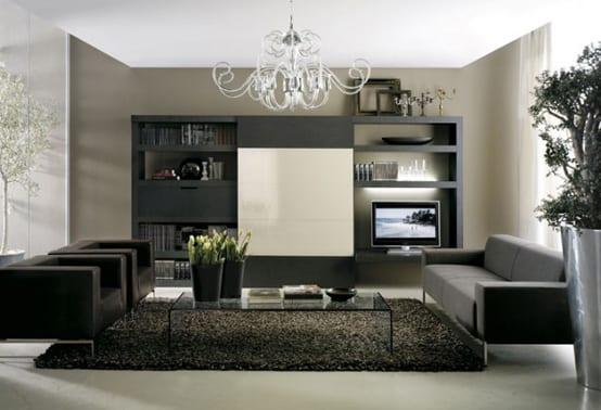 Wohnraum Mit Schwarzen Möbeln Und Glastisch