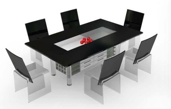 Esstisch aus Acrylglas mit Aufbewahrung in der Mitte