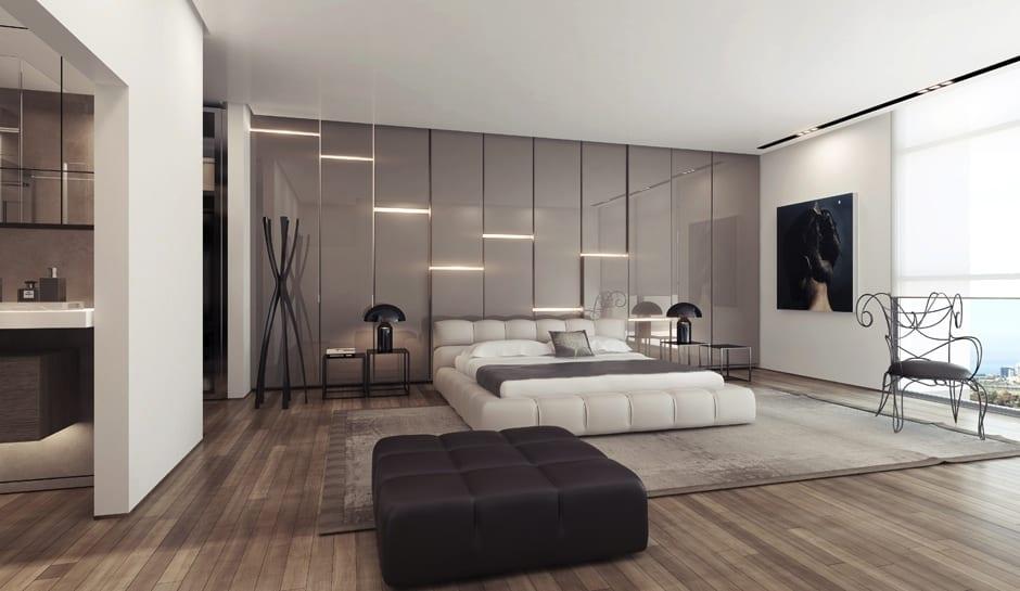 Schlafzimmer mit Doppelbett in weiß und 3D Wandpaneelen in grau mit integrierten Leuchten
