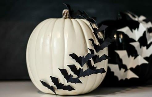 moderne Halloween Kürbisdekoration in schwarz und weiß mit Federmäusen
