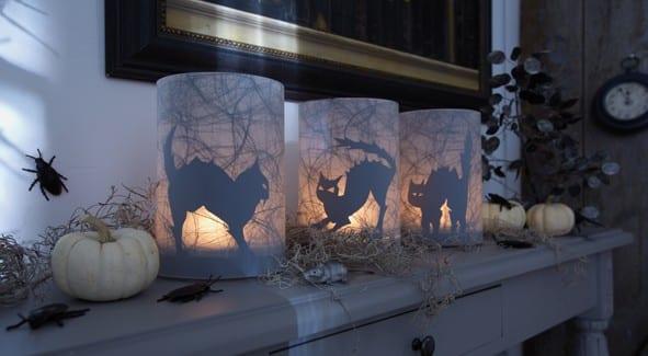 selbsgemachte Halloween Kerzenleuchte mit Katzen Motiv