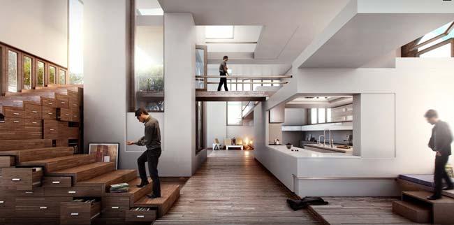 moderne Innenraumgestaltung mit Holzschubladen als Treppe