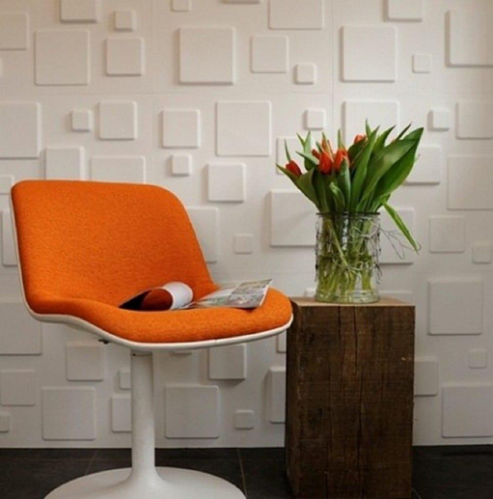 Wohneinrichtung mit design-Stuhl und 3D Wandpaneelen