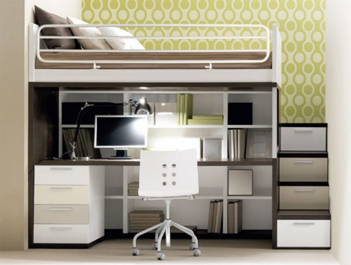 Kinderzimmer Einrichtung mit Hochbett und Schreibtisch ...