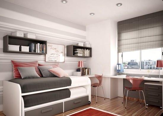minimalistische Einrichtung für Kinderzimmer in grau mit Rollbett