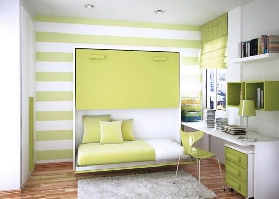 minimalistisches klappbares Bett in grün