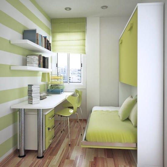 modernes Kinderzimmer in weiß und grün mit klappbarem Bett