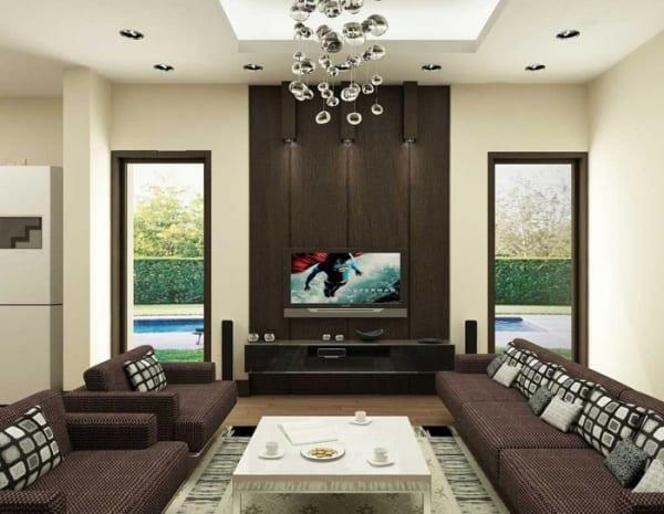 Moderne Wohnzimmer Interieur mit Holzwand Gestaltung