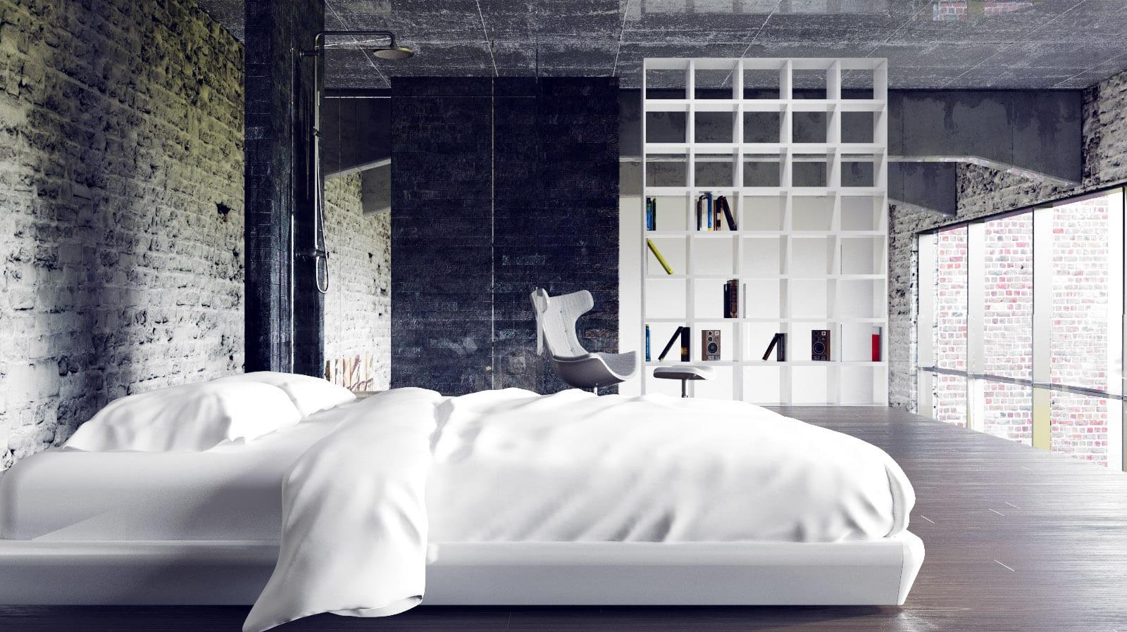 minimalistischer Schlafbereich eines Lofts