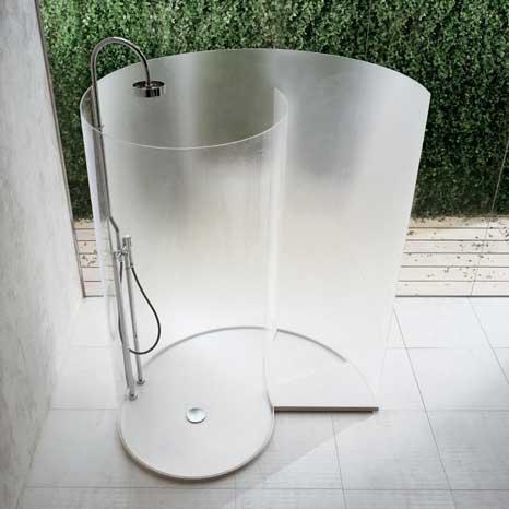 moderne Schnecke-Dusche aus Milchglas