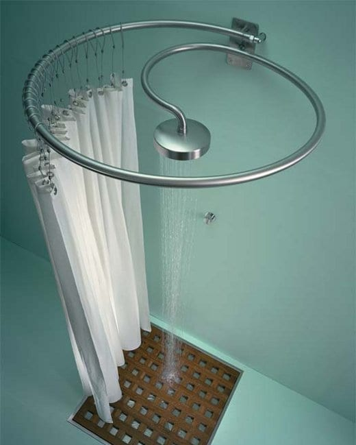 Dusche und Duschvorhang in eins