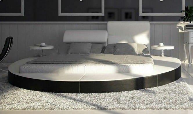 Rundbett Design Idee mit Platform und Matraze