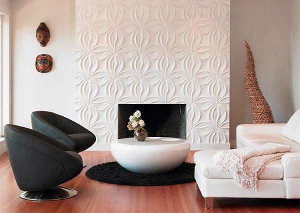 3D Wandverkleidung des Kamins