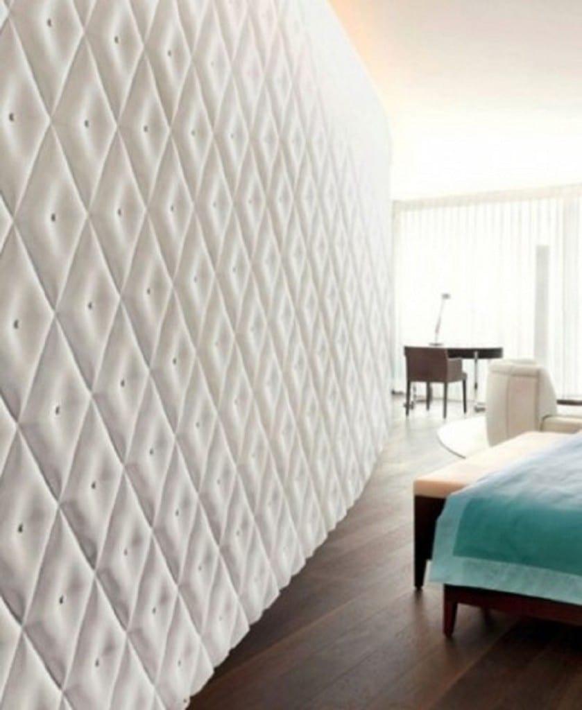 3D Wandverkleidung in weiß für helles Schlafzimmer