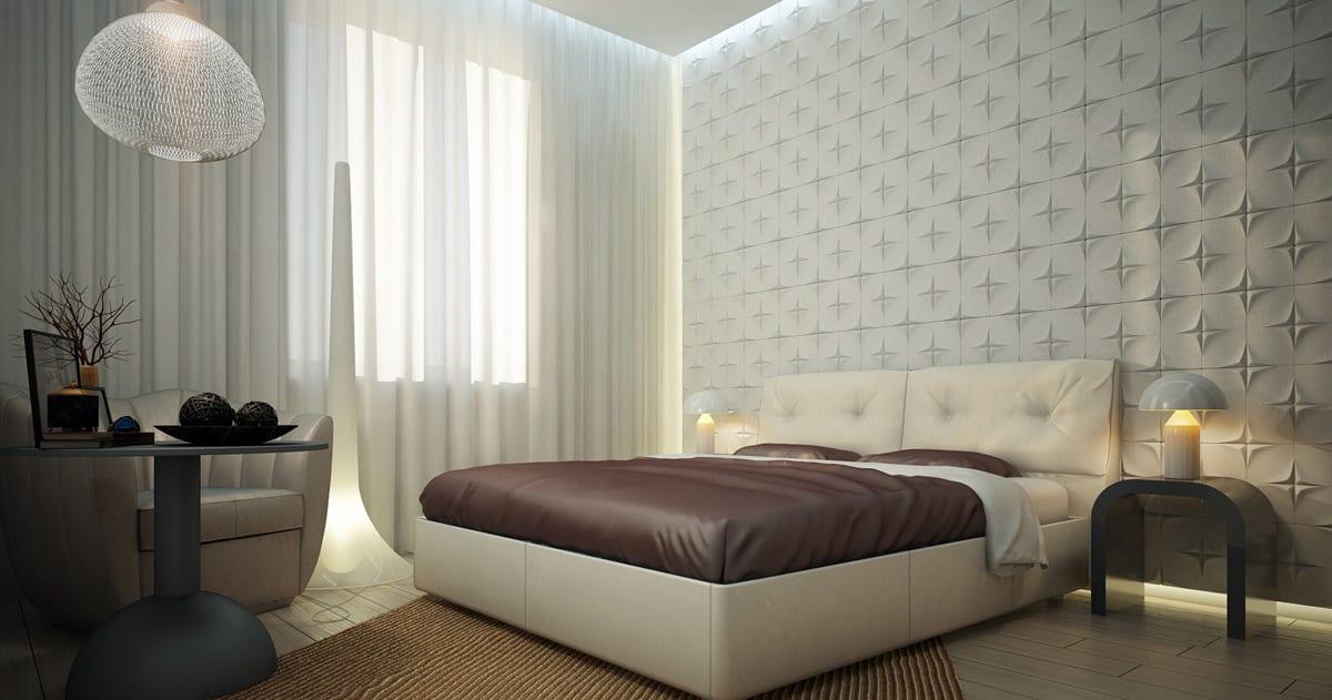 weiße 3D-Wandverkleidung im Schlafzimmer
