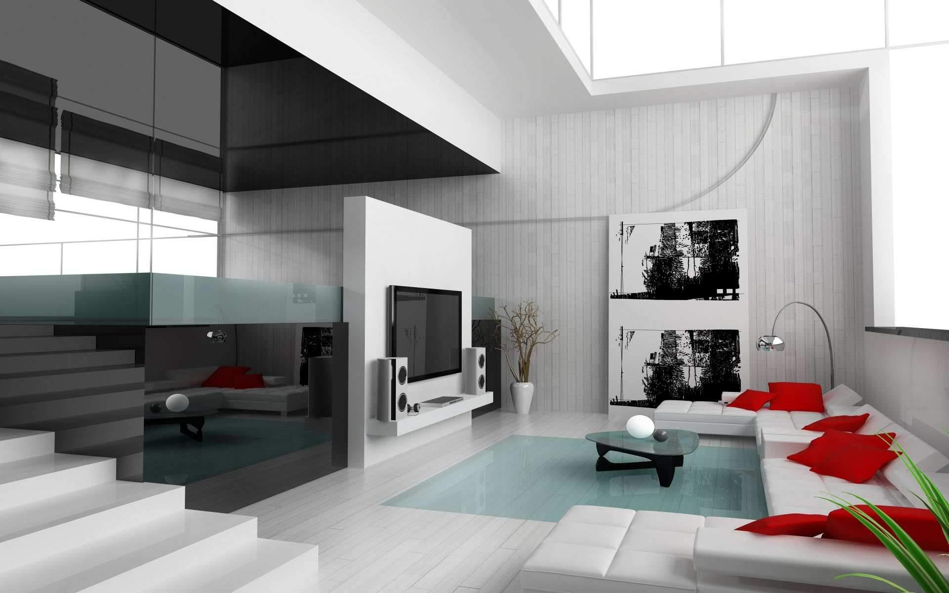 Wohnzimmer Einrichtung mit schwarzes Glas und weißem Sofa