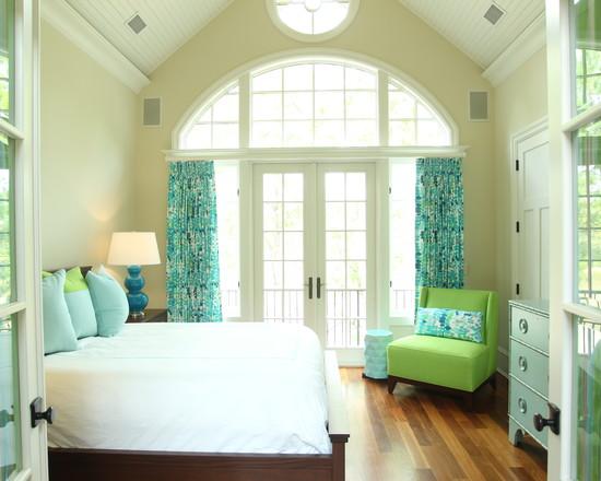 Schlafzimmer Einrichtung in grün und türkis