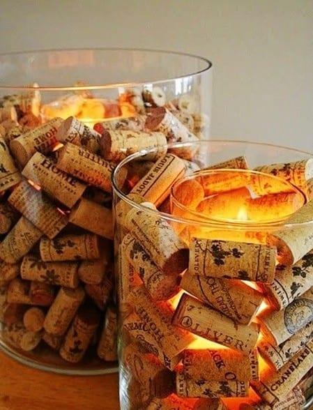 Teelichthalter aus Korken in Glas