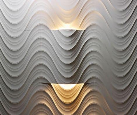 moderne Lichtgestaltung auf 3D Wandverkleidung