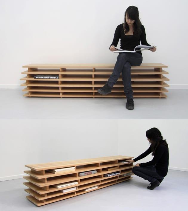 multifunktionalles Bücherregal aus Holz als Bank