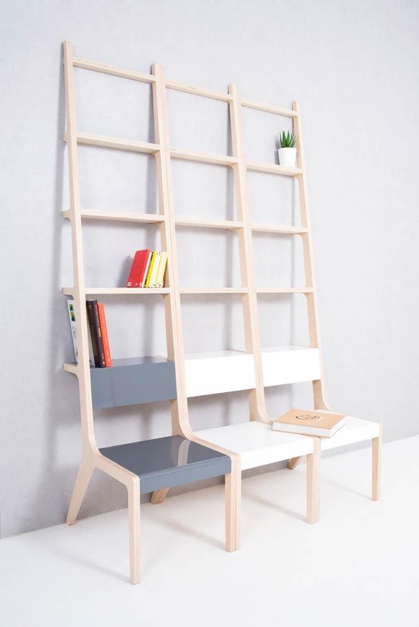 kreatives Bücheregal aus Stuhlen