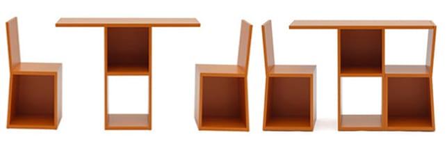 Bücheregal aus Tisch und Stühlen
