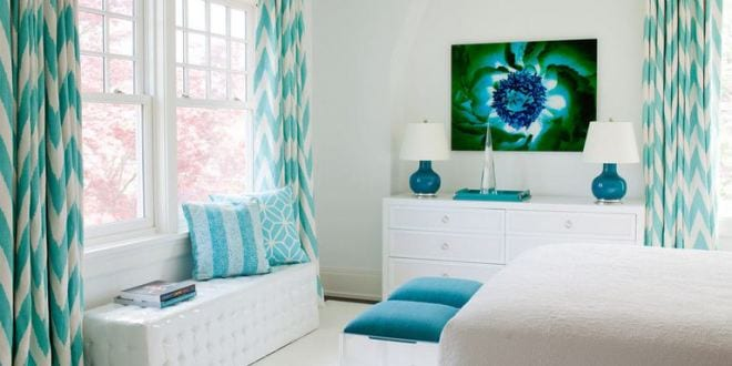 gorgeous bedroom with turquoise accents freshouse. Black Bedroom Furniture Sets. Home Design Ideas