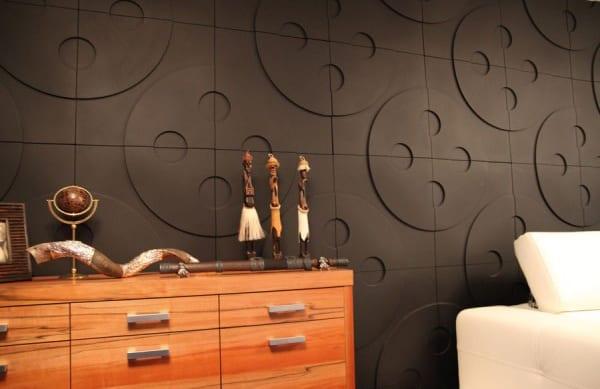 Schlafzimmer Einrichtung mit Knöpfe-Muster-Wandpaneelen