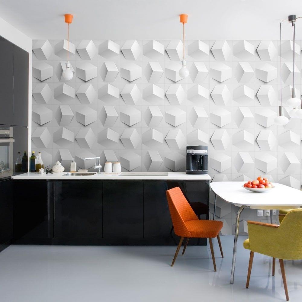 3D-Wandgestaltung in weiß für die Küche