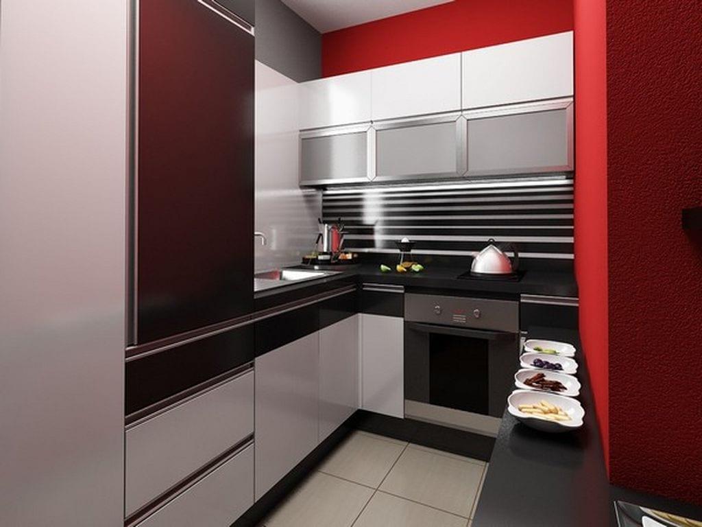 einrichtung-kleiner-küche-in-schwarz-und-weiß-in-kombination-mit-roter-wand