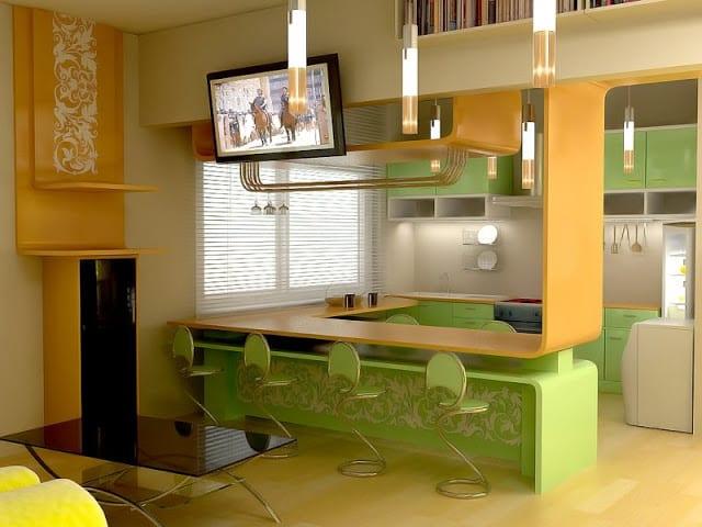 moderne-küche-in-grün-und-gelb