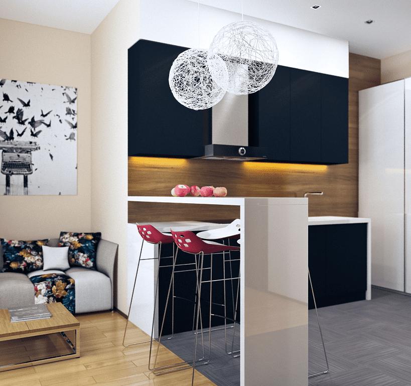 kleine-küche-in-dunkelblau-mit-rückwand-aus-holz-im-wohnzimmer