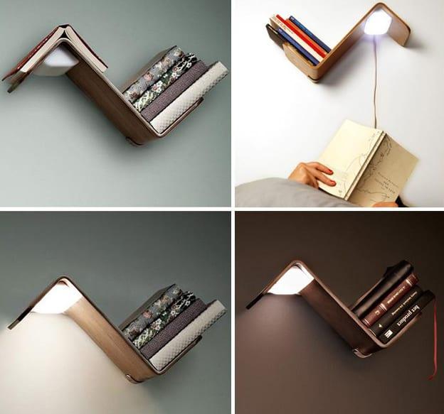 multifunktionelles Bücheregal mit Lampe