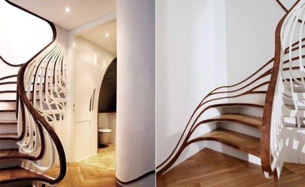 interessante Innenraumtreppe in weiß mit Treppenstufen und handlauf aus holz