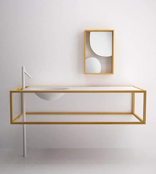 Einrichtung mit Lärchenholzmöbel fürs Badezimmer