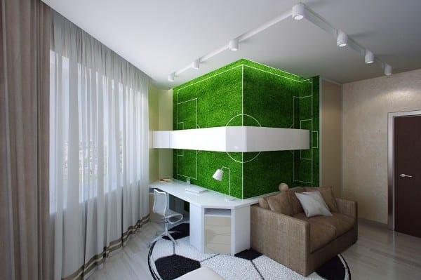 minimalistische Einrichtung des Kinderzimmers mit Fußball Fototapet