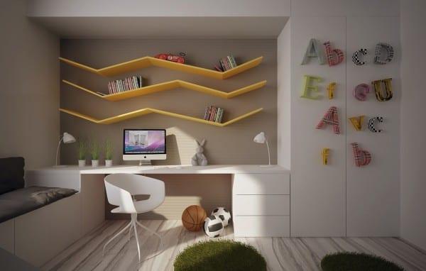 minimalistische Wandgestaltung mit gelben zick-zack Buchregalen