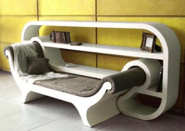 kreative Bücherregal-Idee mit Sofa in weiß