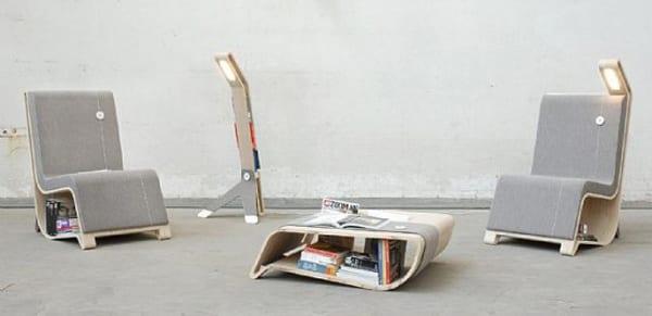 Designer-Lesestuhl zum Aufbewahrung von Büchern