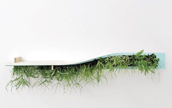 steilischer Pflanzenbehälter für Wand