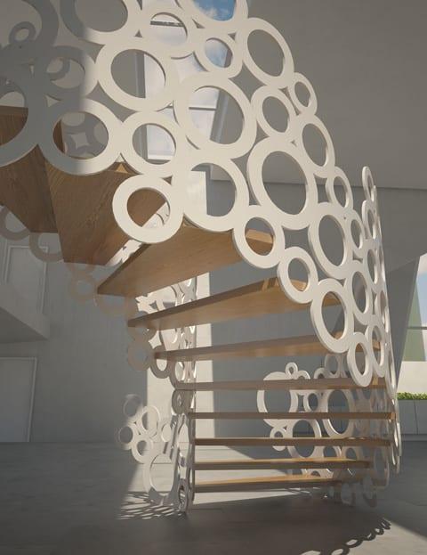 kreative Treppengeländer in weiß mit Kreisenmotiv