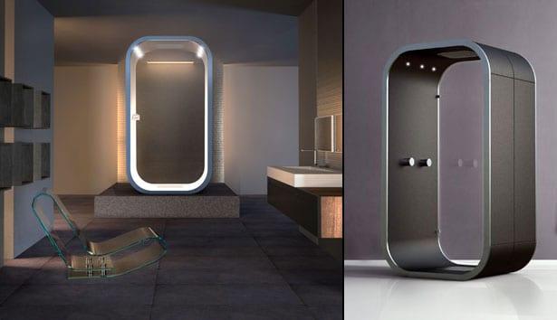 moderne freistehende Duschkabine mit beidseitige Verglasung